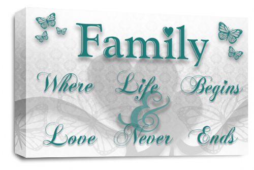 Family Quote Wall Art Picture Teal White Love Print